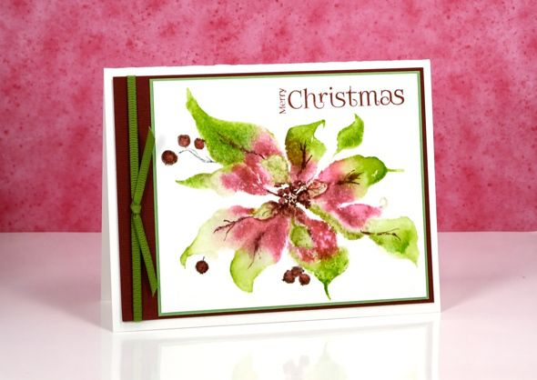 handmade Christmas card: pink & greeen poinsettia by Heather Telford ... used a Misti to stamp differnt colors ... added details with a marker  ... beautiful ...