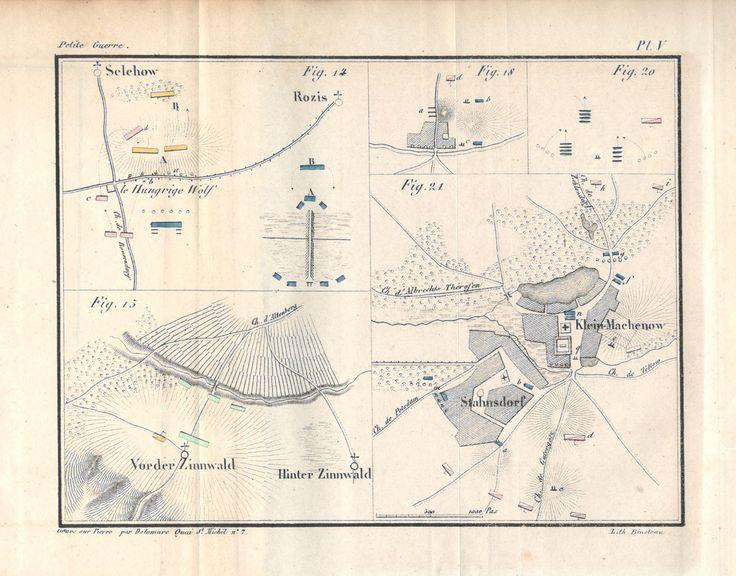 """Source : Decker, """"De la petite guerre"""" (1845), Planche V, citée par ex. p. 135, pour la fig. 15. Se rapporte au livre second, chap. II, Conditions tactiques spéciales des détachements, 1. Conditions défensives."""