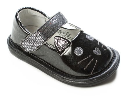 Fun Shoes for Kids from Wee Squeak: Kitty Shoe Black | Meeeoooow! What can we say? This is the shoe little girls dream about.Soft and sparkly. Fit for a Princess. All Wee Squeaks have soft, flexible soles which make them perfect for new walkers and experienced Toddlers. When it's time for quiet, the squeakers are removable. | Get your $5 gift card here: https://thesocialsalesgirls.lpages.co/wee-squeak-pinterest/