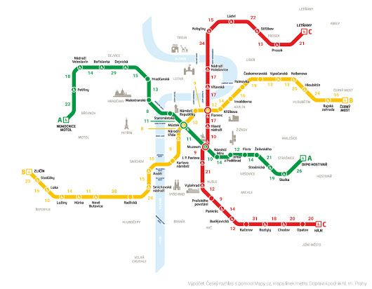 Mapa: Jde to i bez lítačky. Podívejte se, kde budete pěšky rychleji než metrem