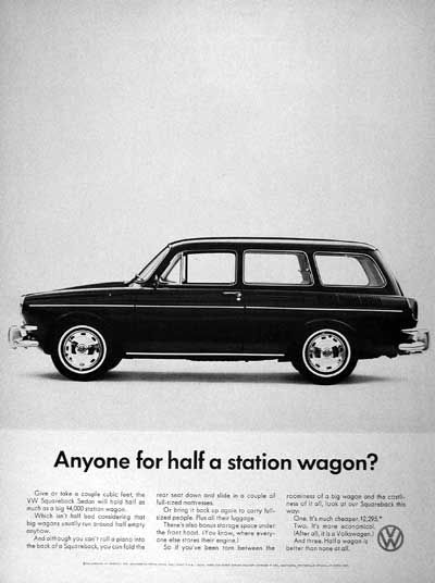 1967 Volkswagen Squareback Sedan original vintage advertisement. Anyone for half a station wagon? Original MSRP started at $2,295.