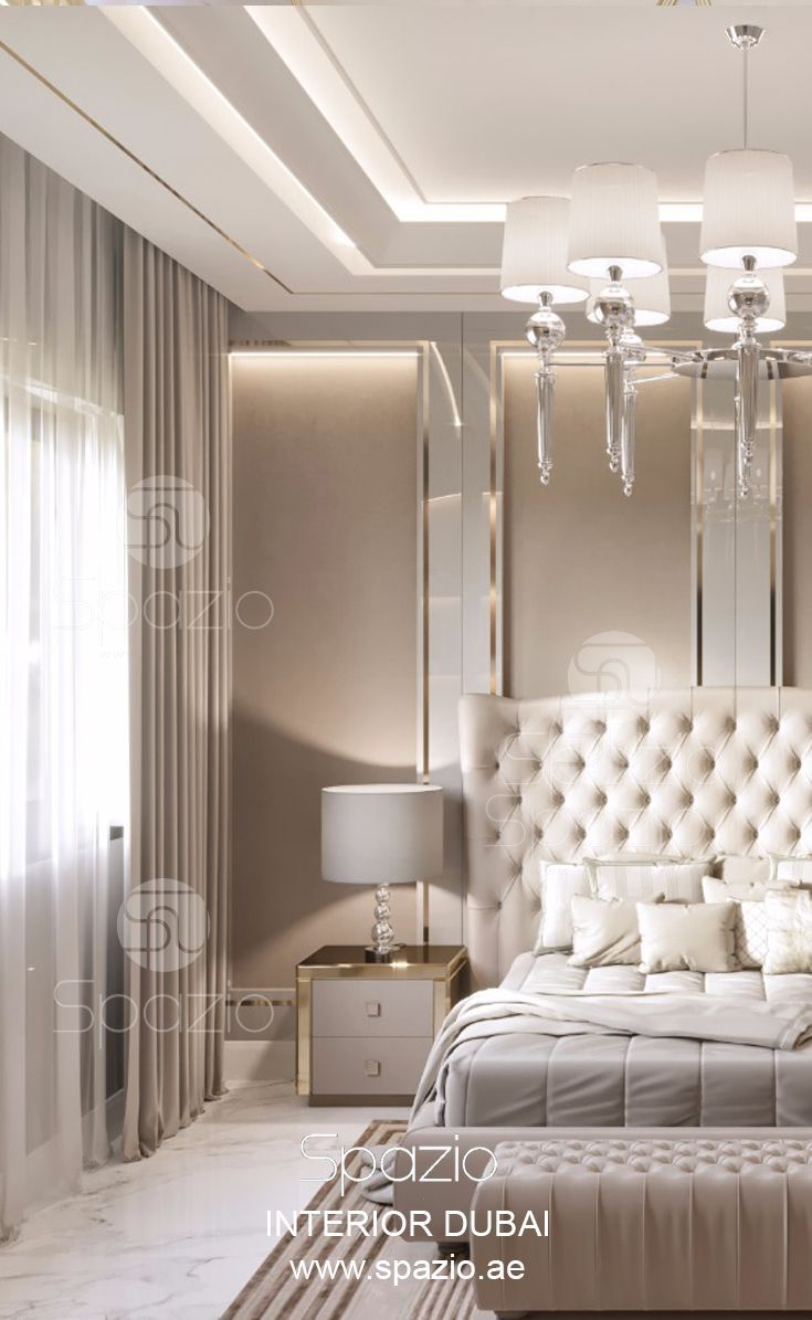 Master bedroom decor for couples in large house in Dubai. Spazio interior design company in Dubai offers creative bedroom interior design solutions in luxury modern style. More information and the price ($) is available on the web site.