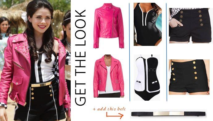 teen beach 2 lela grace thats how we do leather jacket blac white bathing suit shorts