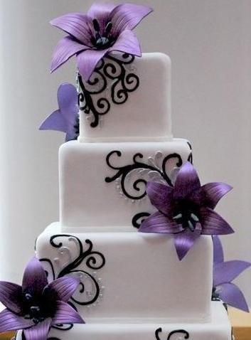 Purple Flowers/Black Swirls Wedding Cake
