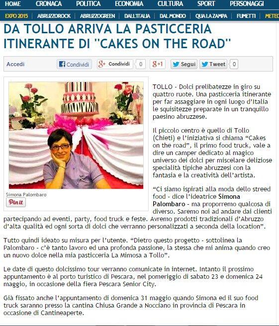 Su Abruzzo web si parla di noi.  #cakesontheroad