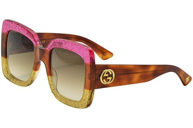 188917d7f86 Gucci 0083 002 Fuchsia Havana Gold Glitter GG0083S Sunglasses ...