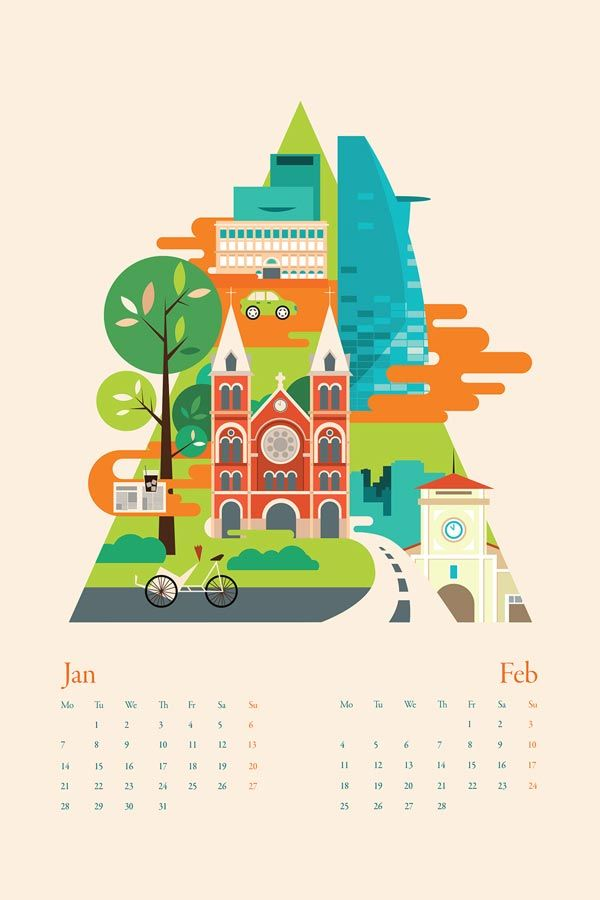 Calendar Illustrations by Tu Bui More about the calender city illustrations on…