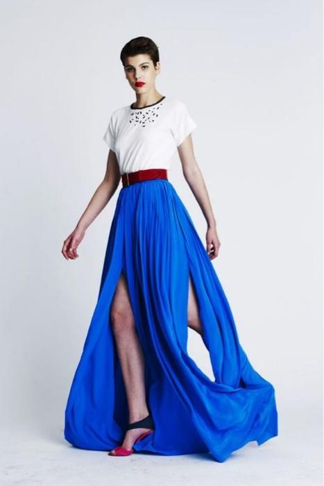 white shirt + belt with magnificent blue maxi skirt