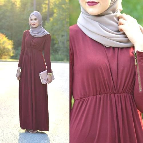 Red Maxi Dress Leena Asad Fall Stylish Hijab Street Looks