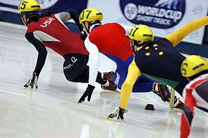WHAT: Short track speed skating is a form of competitive ice speed skating. In competitions, multiple skaters (typically between four and six) skate on an oval ice track the same size as an international-sized ice hockey rink.