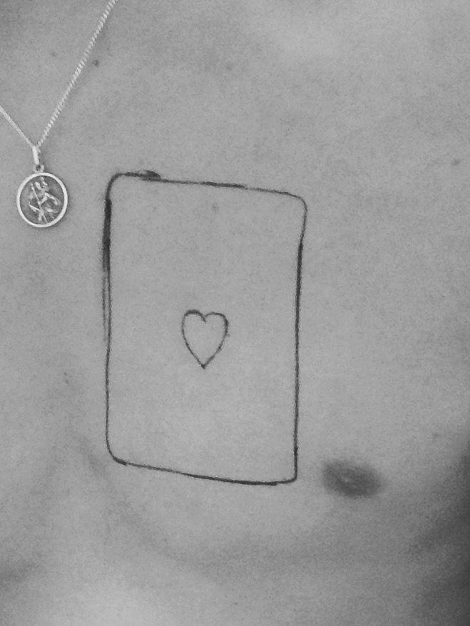 Ace of hearts tattoo, real size card tattoo, chest tattoo, magic tattoo