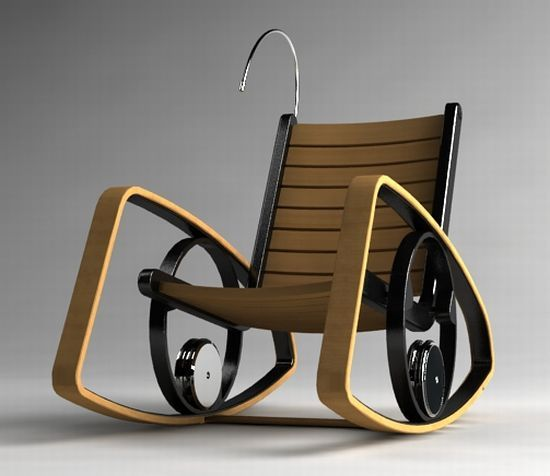 Rocking chair converts kinetic energy into electricity to power your gadgets