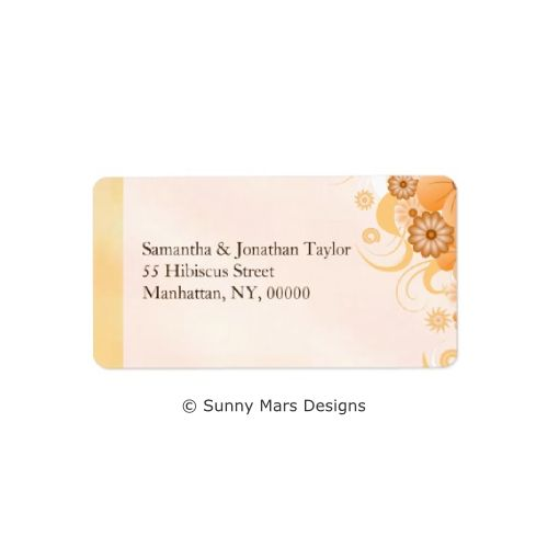 Ivory Gold Hibiscus Floral Custom Return Address Labels or Wedding Favor Labels by sunnymars of SunnyMarsDesigns. This elegant, modern, stylish, trendy customizable wedding label features a classy ivory gold and peach swirly hibiscus flower decoration design. Click through for matching wedding stationery and related products.