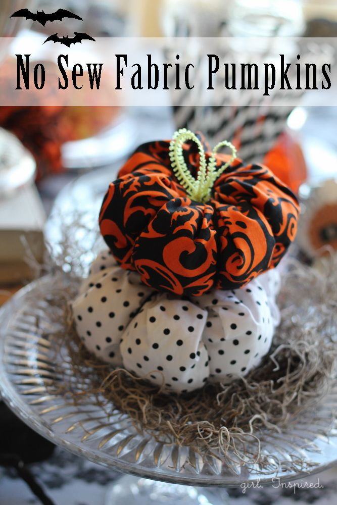 Adorable no-sew fabric pumpkins from @Stefanie (Girl. Inspired.)! #spookyspaces