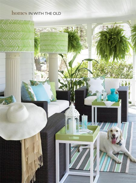 I love how it all came together and that he used fabric napkins to cover the pillows. Brilliant!: Trays Tables, Colors Combos, Outdoor Rooms, Hanging Ferns, Outdoor Living, Southern Porches, Colors Schemes, Floors Lamps, Outdoor Spaces