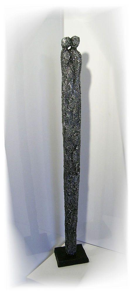 KunstgalerieWinkler Skulptur XL Silber Paar Deco Figur Abstrakt Menschen Unikat