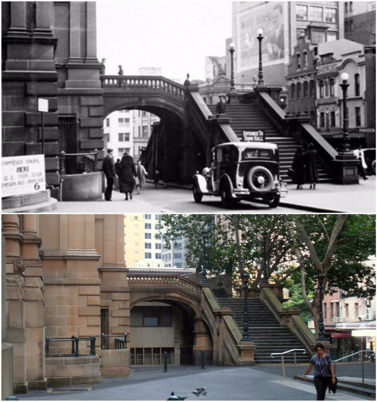 Druitt St steps Sydney Town Hall. View thru arch now filled by Town Hall House 1934 - 2016 [City of Sydney Archives>Kevin Sundgren. By Kevin Sundgren]