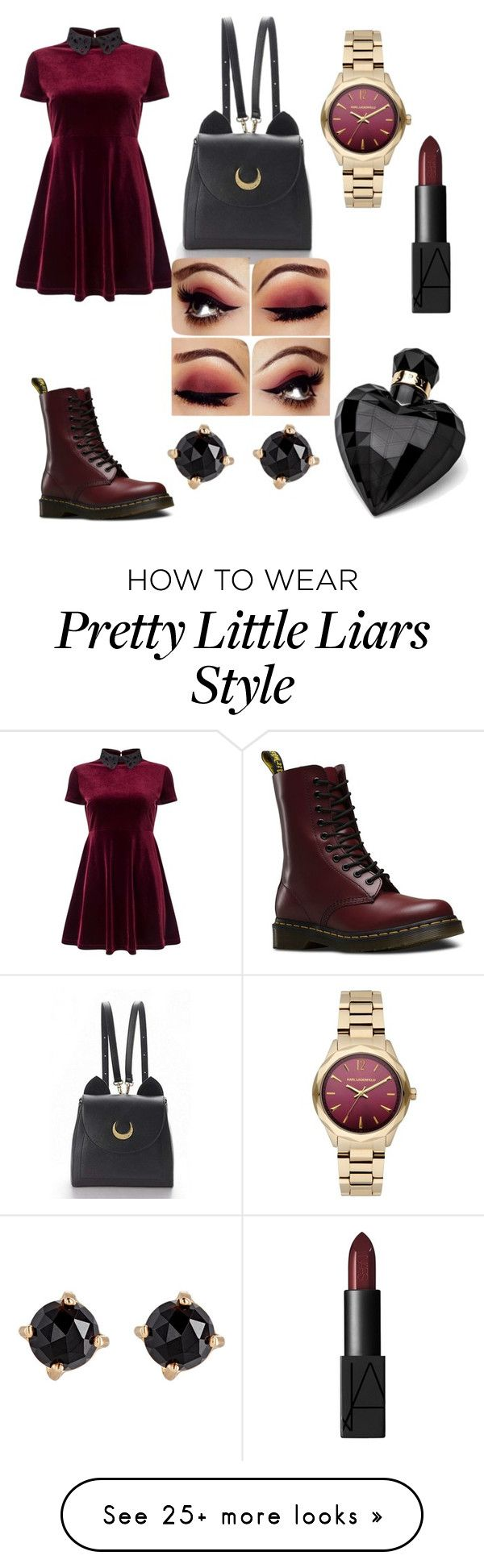 """aria from pretty little liars"" by graceandmelaninn on Polyvore featuring Miss Selfridge, Dr. Martens, WithChic, Karl Lagerfeld, NARS Cosmetics, Lipsy and Irene Neuwirth"