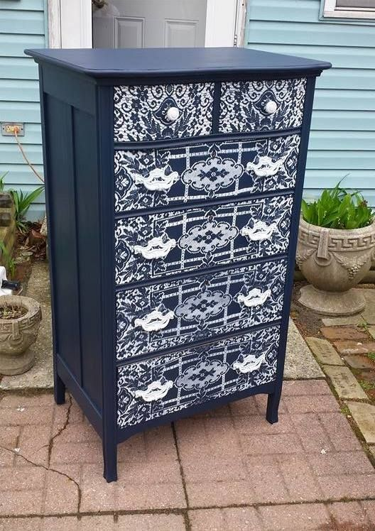 blue lace pattern 6 drawer dresser, painted furniture