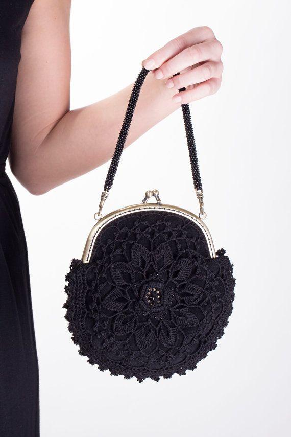 Monedero cordón, monedero negro, monedero damas de honor, monedero de ganchillo, bolso moldeado, bolso victoriano, encaje irlandés, bolso de la flor, monedero cierre, steampunk