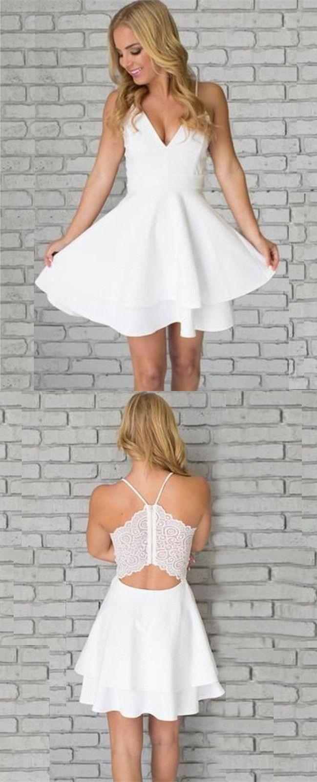 white homecoming dress, short homecoming dress, 2017 homecoming dress, spaghetti straps homecoming dress