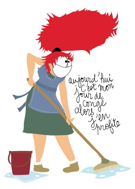 dessin humoristique sur un jour de congé pour une femme qui en profite pour faire le ménage