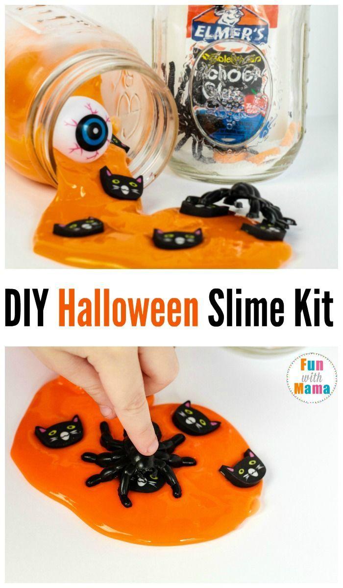 DIY Halloween Slime Kit For kids, Preschool Halloween Science,  Halloween Party Favors, Halloween Kids Activities via @funwithmama