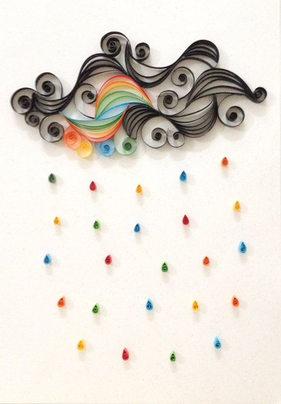 Paper quilling It's raining by Hyvoky on Etsy