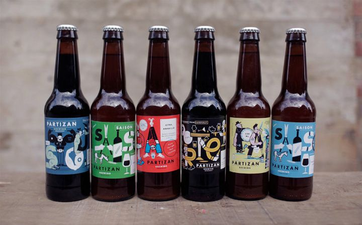 cool beer bottle labels for a craft brewery   Partizan Brewing by Alec Doherty