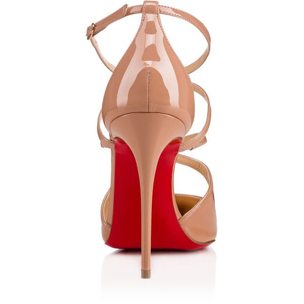 CROSSFLIKETA PATENT 100 Nude Patent Calfskin - Women Shoes - Christian... ($915) ❤ liked on Polyvore featuring shoes, pumps, christian louboutin, calfskin shoes, patent leather shoes, nude court shoes and patent shoes