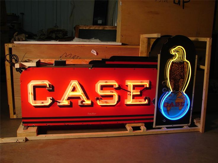 Sold* at Scottsdale 2008 - Lot #5397 Rare 1930s-40s Case Tractors double-sided neon porcelain dealership sign.