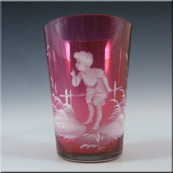 Mary Gregory Bohemian Hand Enamelled Pink Glass Tumbler #3 - £20.00
