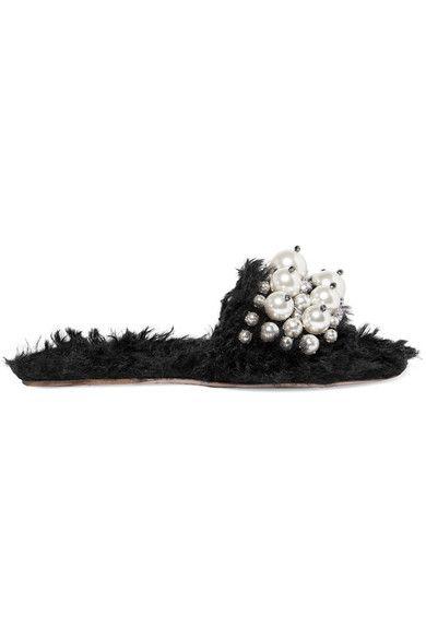 Miu Miu - Embellished Faux Shearling Slides - Black - IT35.5