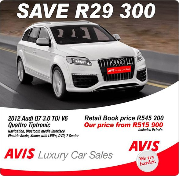 2013 Audi Q7 Tdi: Save R29 300 On A 2012 Audi Q7 3.0 TDI V6 Quattro