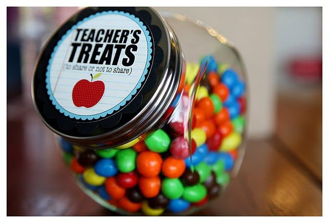 Teacher gift ideas: Teacher Gifts, Back To Schools, Teacher Treats, Gifts Ideas, Teachergift, Teacherappreci, Teacher Appreciation Gifts, Teachers, Candy Jars