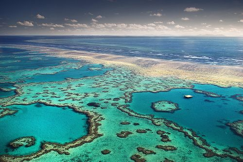 Located off the coast of Australia, Great Barrier Reef presents an amazing underwater scenery. Very colorful and a breeding place of the beautiful coral reef and also home to many marine animals such as the saltwater crocodile, Sea Dragon, and more than 125 types of sharks.