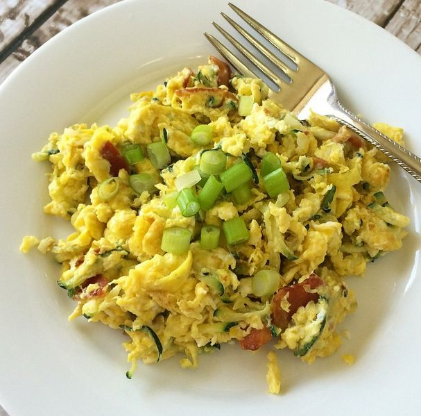 Scrambled Eggs with Grated Zucchini #Paleo No cheese for strict paleo!