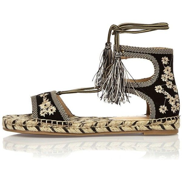 River Island Black embroidered espadrille sandals found on Polyvore featuring shoes, sandals, shoes / boots, black, women, laced sandals, lace up sandals, espadrilles shoes, black sandals and open toe shoes
