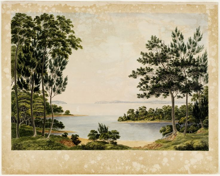 View of the Heads, and part of Botany Bay - from the End of Cook's River [about 8 miles from Sydney - New South Wales - The point of land seen to the right is call'd Cape Banks, that to the left Cape Solander] Joseph Lycett