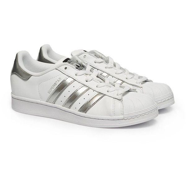 Adidas Superstar sneakers Footwear White/Silver Metallic ($39) ? liked on  Polyvore featuring