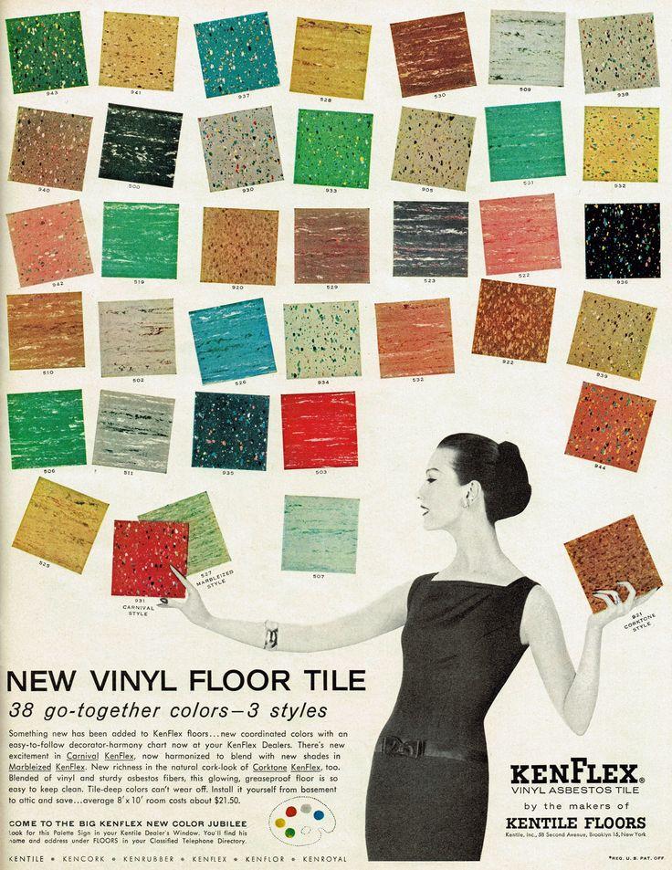 Kenflex Vinyl Asbestos Tile, 1956. She's so casually handling asbestos tiles!