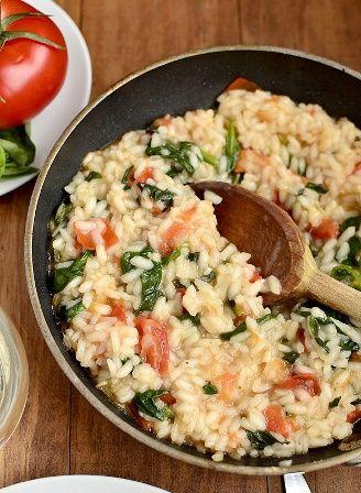 Tomato-Basil  Spinach Risotto
