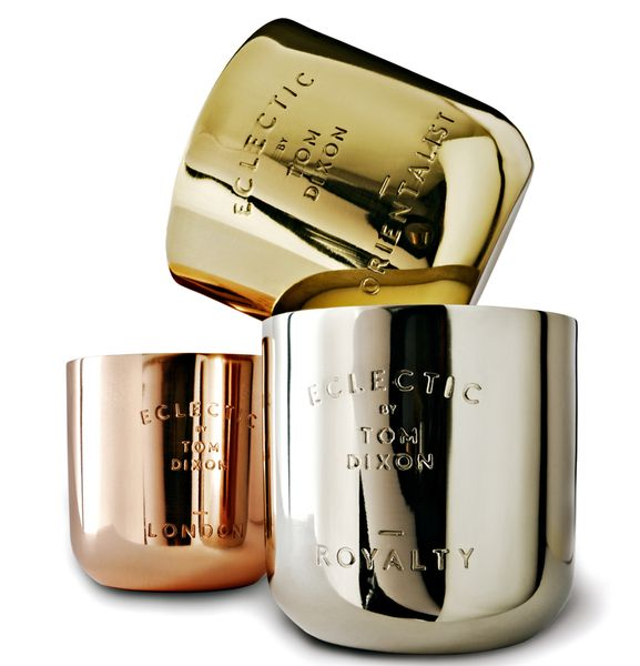 Eclectic candles: London in copper, Orientalist in brass and Royalty in nickel, $85 each. From Tom Dixon.