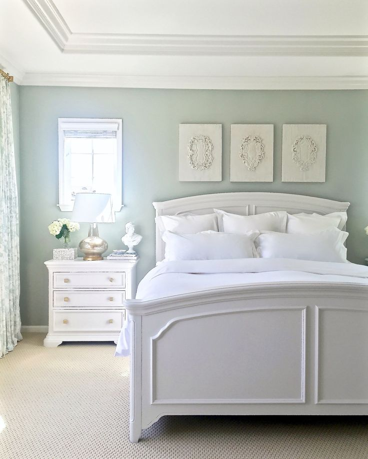 Walls are Restoration Hardware Silver Sage (gray/green/blue tranquil spa-like feel), furniture is painted Sherwin Williams (premium in Satin Finish) Elder White - use SW primer before painting furniture & paint with a finish roller or use Flow Trol that smooths out brushstrokes