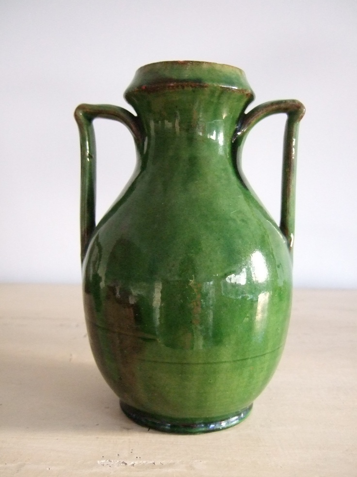 Unusual 8 antique arts crafts green glazed studio for Arts and crafts vases pottery