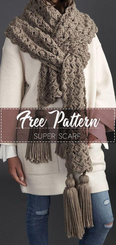SUPER SCARF – FREE CROCHET PATTERN #crochet #freecrochetpattern ...