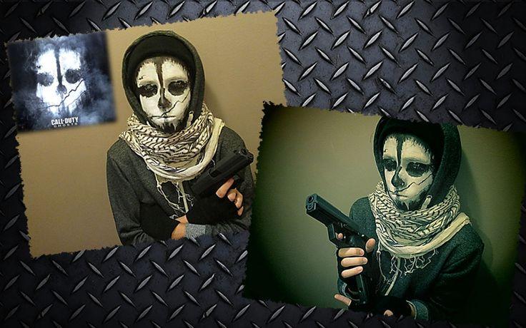 Maquillaje inspirado en el logotipo del videojuego 'Call of duty ghost', empleando acuacolor negro y blanco