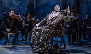 Lucian Msamati as the composer Antonio Salieri, together with the Southbank Sinfonia.
