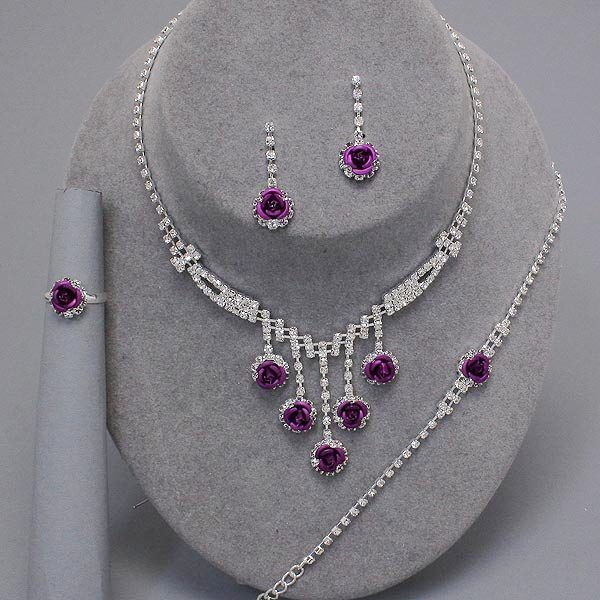 Purple rose diamante necklace bracelet earring AND ring set only £15.99 from WWW.GlitzyGlamour.co.uk (available in other colours)