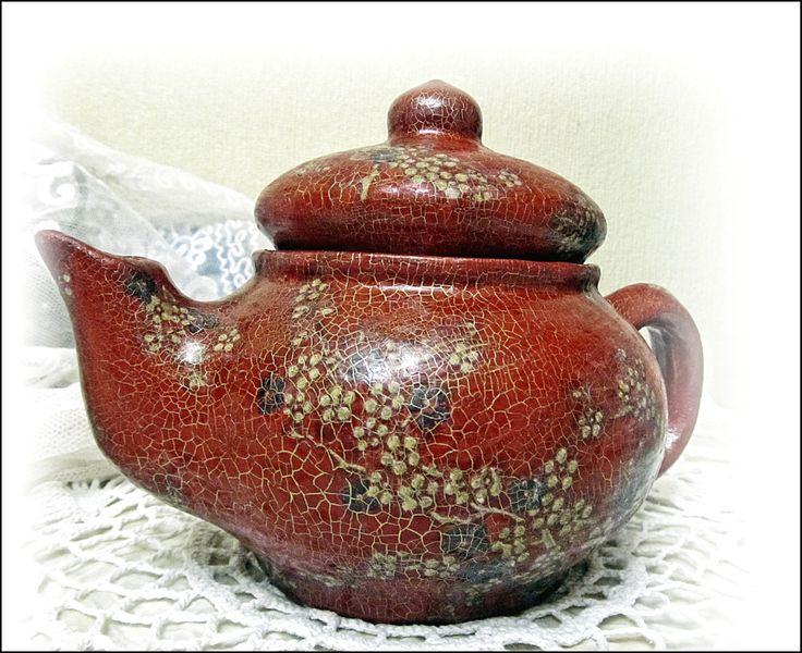 Декупаж керамического чайника